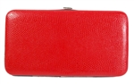 Red Snake Skin Texture Hard Clutch Wallet