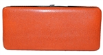 Orange Snake Skin Print Hard Clutch Wallet