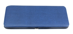 Blue Snake Skin Print Hard Clutch Wallet