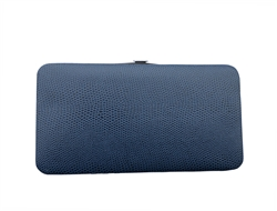 Blue Snakeskin Print Small Flat Hard Wallet