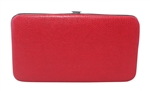 Red Snakeskin Print Small Flat Hard Clutch Wallet