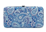 Blue Paisley Print Small Flat Hard Clutch Wallet