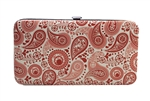 Pink Paisley Print Small Flat Hard Clutch Wallet