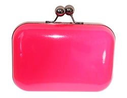 Neon Fuchsia Pink Hard Case Evening Clutch Purse