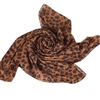 Medium Brown Leopard Animal Print Chiffon Scarf
