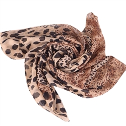 Brown Mixed Animal Leopard Print Scarf
