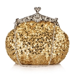 Gold Formal Sequin Casual Clutch Bag