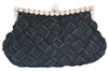 Black Braided Pleated Evening Clutch Bag