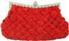 Red Evening Pleated Clutch bag