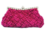 Fuchsia Pink Pleated and braided Rhinestone studded Wedding Evening Clutch Purse Bag