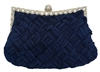 Navy Blue Bridal Pleated Clutch bag