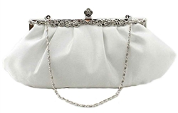 White bridal clutch bag