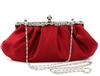 Wine Red Cocktail Bridal Wedding Clutch Purse with Rhinestones