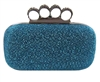 Royal Blue Metal Rhinestone Duster Knuckle Clutch
