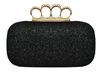 Black Glitter Rhinestone Duster Knuckle Clutch