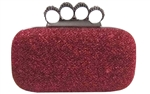 Red Glitter Rhinestone Duster Knuckle Clutch