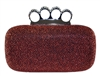 Brown Glitter Rhinestone Duster Knuckle Clutch