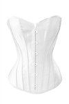 White Satin Boning  Lace Up Bustier Corset