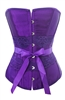 Purple Satin & Floral Lace Corset Lace Up Bustier