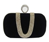 Black Suede Duster Knuckle Evening Clutch Bag