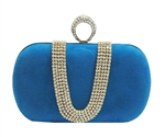 Sky Blue Suede Duster Knuckle Evening Clutch Bag
