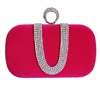 Fuchsia Pink Suede Duster Knuckle Evening Clutch