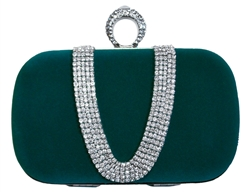 Green Suede Duster Knuckle Evening Clutch
