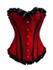 Satin Ruffle Bustier Corset With Strong Boning