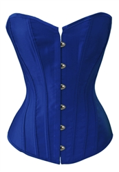 Blue Satin Lace Up Sexy Strong Boned Corset