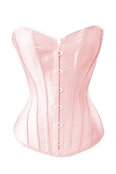 Pink Satin Lace Up Sexy Strong Boned Corset