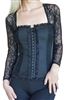 Black Lace Corset Long Sleeve Bustier