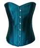 Teal Blue Satin Sexy Strong Boned Corset