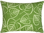 green/ivory leaf indoor/outdoor throw pillow cover