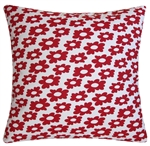 white/red wildflower decorative throw pillow cover