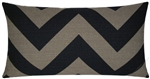 "12x22"" black/moss chevron throw pillow cover"