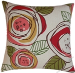 red floral rainforest decorative throw pillow cover