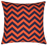 navy blue/orange chevron zigzag throw pillow cover