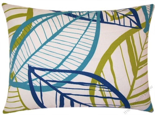 Cushion cover Ginkgo leaves turquoise yellow blue various sizes BEAUTIFUL LIFE
