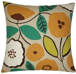 orange/green pumpkin bloom decorative throw pillow cover