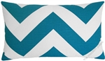 deep aqua blue/white chevron zigzag decorative throw pillow cover