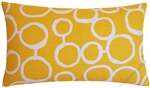 mustard yellow/white freehand decorative throw pillow cover