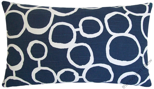 40x40 Navy Blue White Freehand Circles Decorative Throw Pillow Best Decorative Pillows With Circles