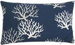 navy blue coral decorative throw pillow cover