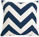 navy blue chevron zig zag decorative throw pillow cover