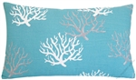 aqua blue/gray/white coral decorative throw pillow cover