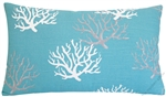 aqua blue coral decorative throw pillow cover