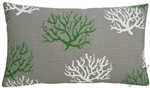 gray/green/white coral decorative throw pillow cover