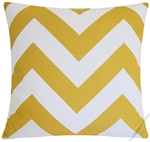 mustard yellow / white chevron zigzag decorative throw pillow cover