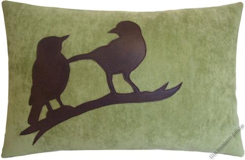 40x40 Sage Green VelvetBrown Bird On A Limb Decorative Throw Mesmerizing Decorative Throw Pillows With Birds