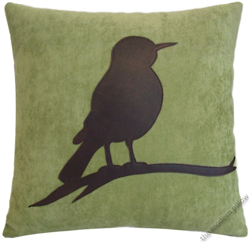 40x40 Sage Green VelvetBrown Bird On A Limb Decorative Throw New Decorative Throw Pillows With Birds